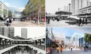 <strong>Croydon past and Croydon future</strong>: the Whitgift Centre in 1969 and 1970, and the Westfield project which will replace it.
