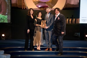 Best ethical food project winners Clean Kilo accept their award from Jay Rayner and Nigella Lawson