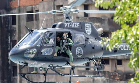 Marcelo Pinheiro, AKA 'Piloto', is transferred by helicopter from the city of Foz do Iguacu, on their way to Catanduvas maximum-security federal penitentiary in Paraná state, Brazil, on Monday.
