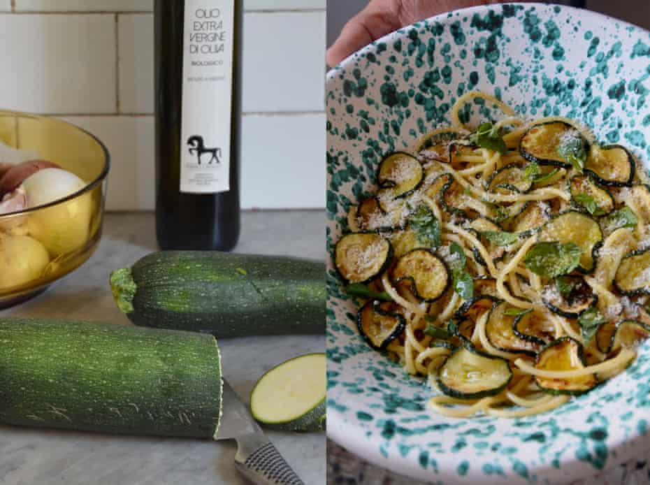 Rachel Roddy's spaghetti with courgettes, pecorino and mint.