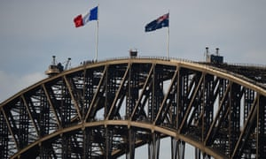 The national flag of France is flown atop Sydney Harbor Bride as a show of solidarity