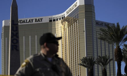 An officer near Las Vegas's Mandalay Bay hotel, scene of the October 2017 shooting that some YouTube videos labelled a 'false flag' event.