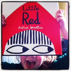 """Little Red by Bethan WoollvinReviewed by Kate, Izzie (4) and Theo (2)We thoroughly enjoyed this twisted telling of the traditional Little Red Riding Hood tale. In this version Little Red is not a girl who is easily scared. She is also not fooled by the wolf's bad grandmother disguise. Little Red plays along with the wolf until he reveals he is planning to eat her. Although we are not told what becomes of the """"unlucky"""" wolf, the pictures really say it all! The bold illustrations and dark humour create a superb and highly memorable story. It had us all chuckling."""