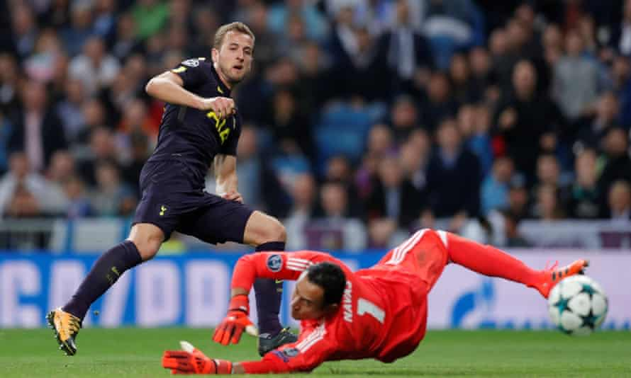 Harry Kane watches as his shot is saved by Real Madrid's Keylor Navas.