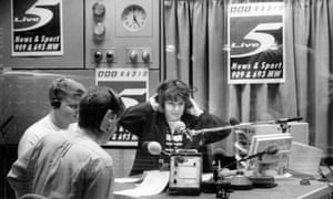 Jane Garvey, Adrian Chiles and Marcus Buckland on BBC Radio 5 Live in 1994.