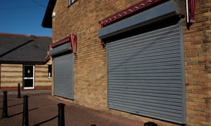Vacant shops with shutters down