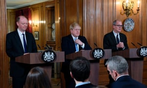 Boris Johnson (centre) with Prof Chris Whitty (left) and Sir Patrick Vallance at their press conference.