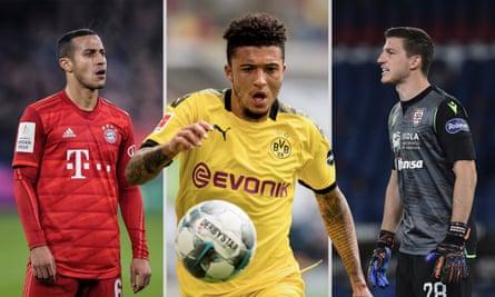 Bayern Munich's Thiago Alcantara, Jadon Sancho of Borussia Dortmund and Cagliari's Alessio Cragno. Photographs by Getty Images