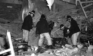 Firemen at work following the bomb attacks on Birmingham pubs in 1974.