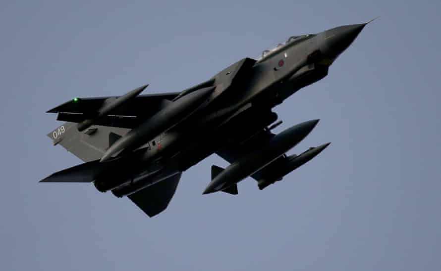 RAF Tornado  in the air, pictured from below