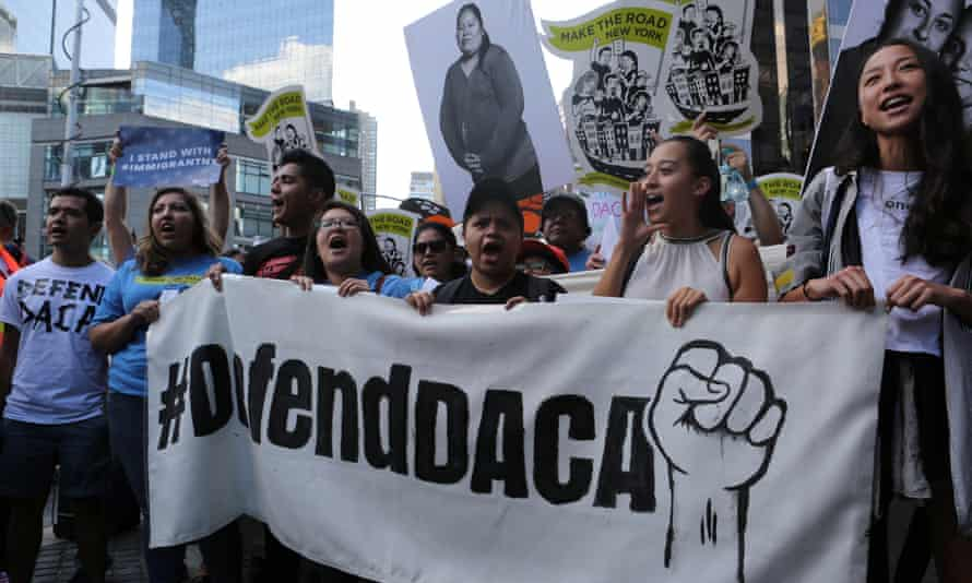 People demonstrate in favor of the Daca program at a rally in New York City.