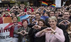 Christine Forster, Virginia Edwards, Greens Senator Sarah Hanson-Young and Labor deputy leader Tanya Plibersek at a rally for same-sex marriage in May.