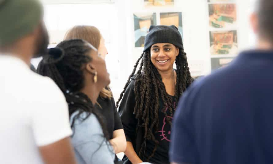 'Why do you have to go there?' … Suzan-Lori Parks with the cast.