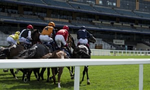 The runners break from the stalls for the Queen's Vase on Friday at Royal Ascot.