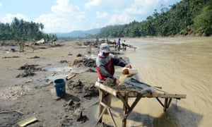 Illegal gold mining in the Philippines.