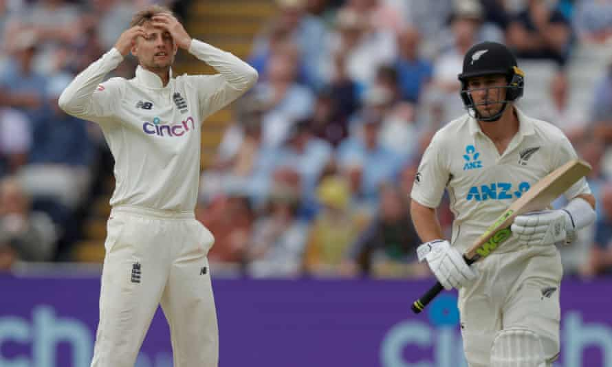 Joe Root shows his frustration as Will Young, who made a Test-best 82, steers New Zealand towards England's first-innings total at Edgbaston.