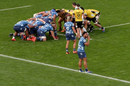 A scrum during the opening round of Super Rugby Aotearoa at Eden Park