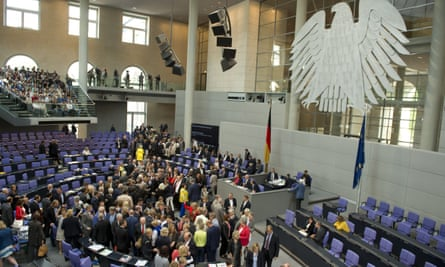 German MPs vote on the third Greek bailout in the Bundestag in Berlin