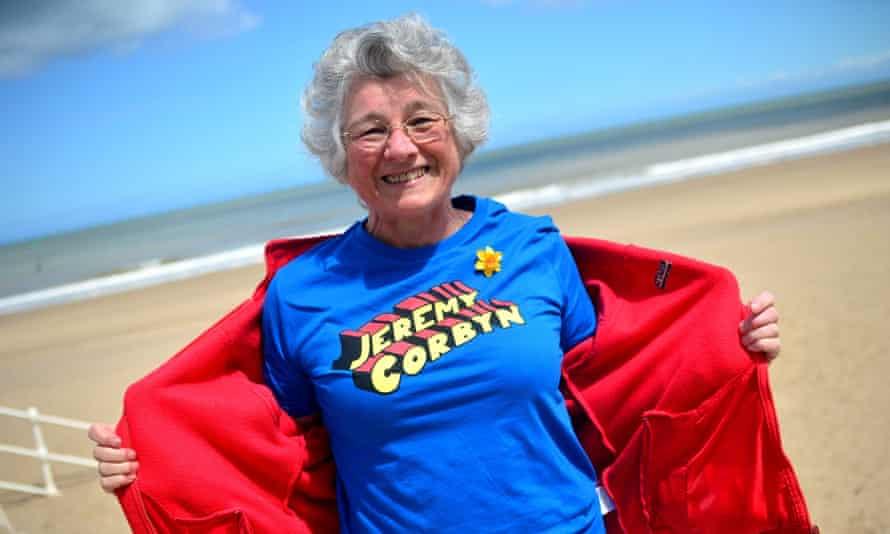 Alison Pring of Colwyn Bay, Denbighshire, shows-off a Jeremy Corbyn T-shirt.