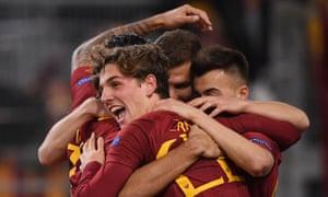 Roma's Nicolo Zaniolo celebrates scoring his second goal.