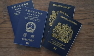 British National Overseas passports (BNO) and Hong Kong Special Administrative Region of the People's Republic of China passports
