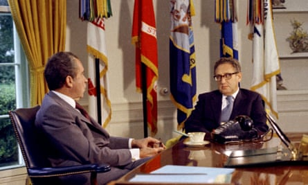 Kissinger, newly appointed secretary of state, sits with Richard Nixon in the Oval Office in September 1973.