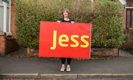 Jess Phillips with sign