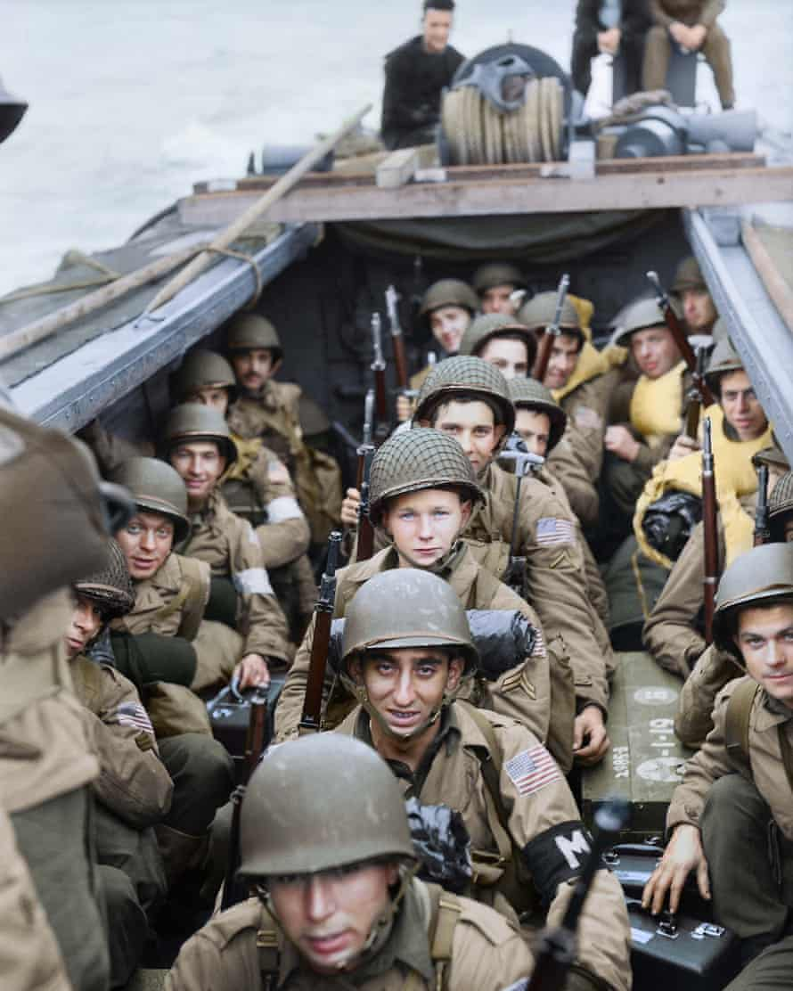 American troops take part in Operation Torch, the Allied invasion of North Africa, November 1942: black and white image coloured by artist Marina Amaral
