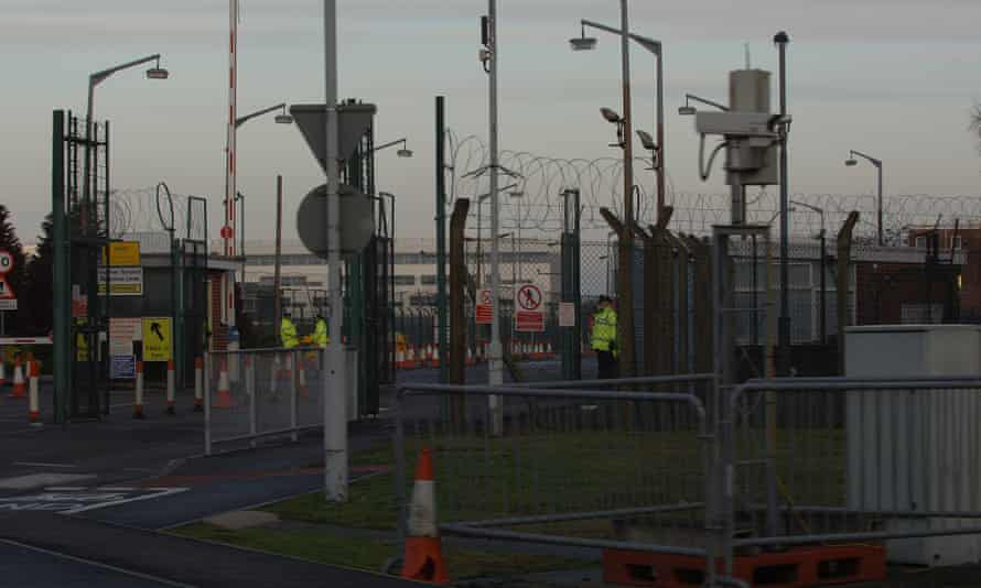 The gates to the Atomic Weapons Establishment where anti nuclear activists have been mounting a human blockade.
