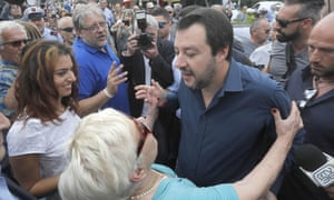 Matteo Salvini greets supporters of his party during his visit to a local market in Pisa last week.