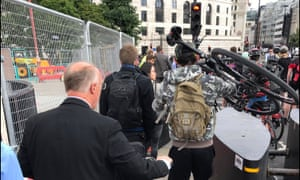 The security barriers on Blackfriars Bridge