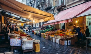 Vegetables and fruits for sale on old fish market called La Pescheria in Catania city
