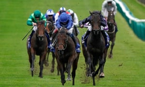 Pinatubo, blue colours, eventually proved too good for Arizona in the Dewhurst Stakes but had to work harder than in previous starts.