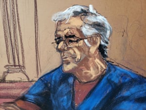 Jeffrey Epstein looks on during a bail hearing in his sex trafficking case.