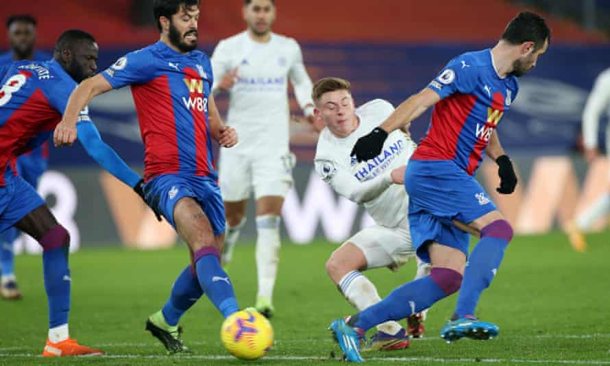 Harvey Barnes fires through a crowd of Palace players to make it 1-1.