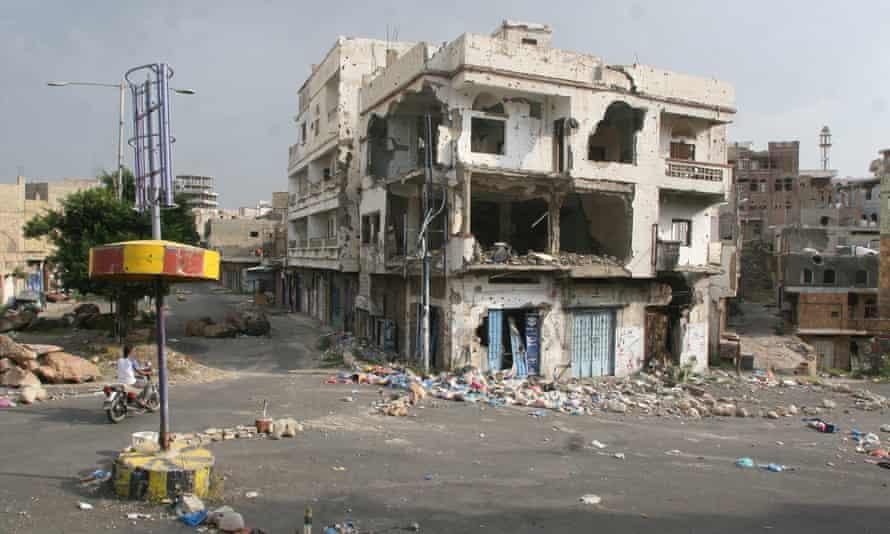 Damaged buildings in the war-torn city of Taiz, in the southwest of Yemen.
