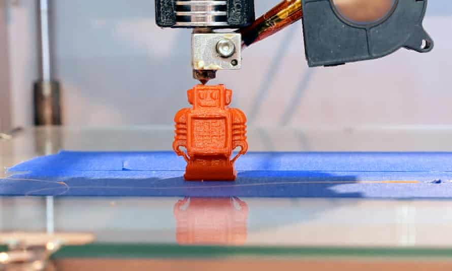Three dimensional plastic 3d printerAutomatic three dimensional 3d printer performs product creation. Modern 3D printing or additive manufacturing and robotic automation technology.