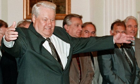 The Russian president Boris Yeltsin in 1999. A Foreign Office note described him in 1995 as a 'bad insurance risk'.