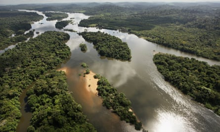 The Xingu River flows near the area where the Belo Monte dam complex is under construction in the Amazon basin on June 15, 2012 near Altamira, Brazil.