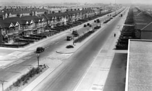 Wide streets constructed as a result of inter-war housing project, Ilford in Greater London, 1936.