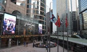 The Hong Kong stock exchange building.