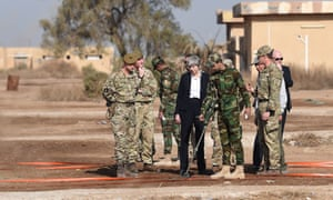Theresa May meets British troops training Iraqi security forces at Camp Taji near Baghdad, Iraq.