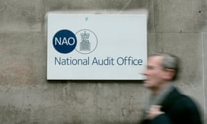 A blurred man walks past the National Audit Office in London