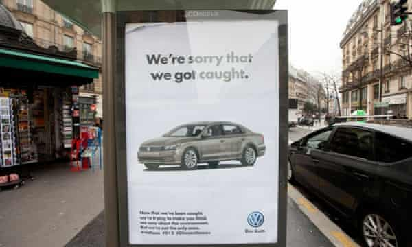 A spoof Volkswagen advert appears in Paris.