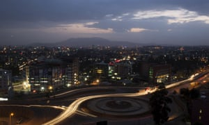 A general view of Addis Ababa at night, taken in May.