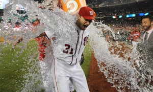 Max Scherzer is soaked after equalling the major league strikeout record