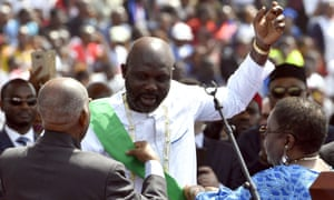 Liberia's president-elect George Weah at his swearing-in ceremony in Monrovia