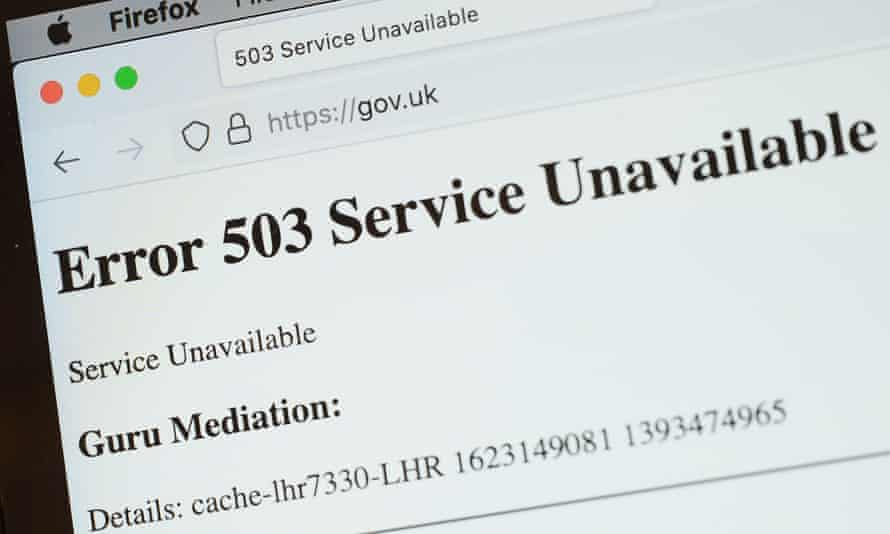 A screen displays a holding page of the Gov.UK website portal that went down on 8 June