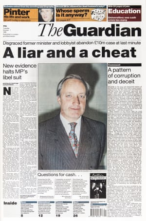 Guardian front page: 'A liar and a cheat'
