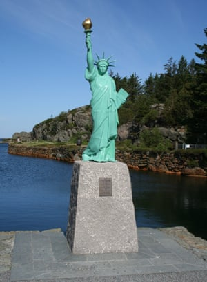 This version stands in Visnes, Norway, where it's claimed that the copper for the statue in New York harbor was mined